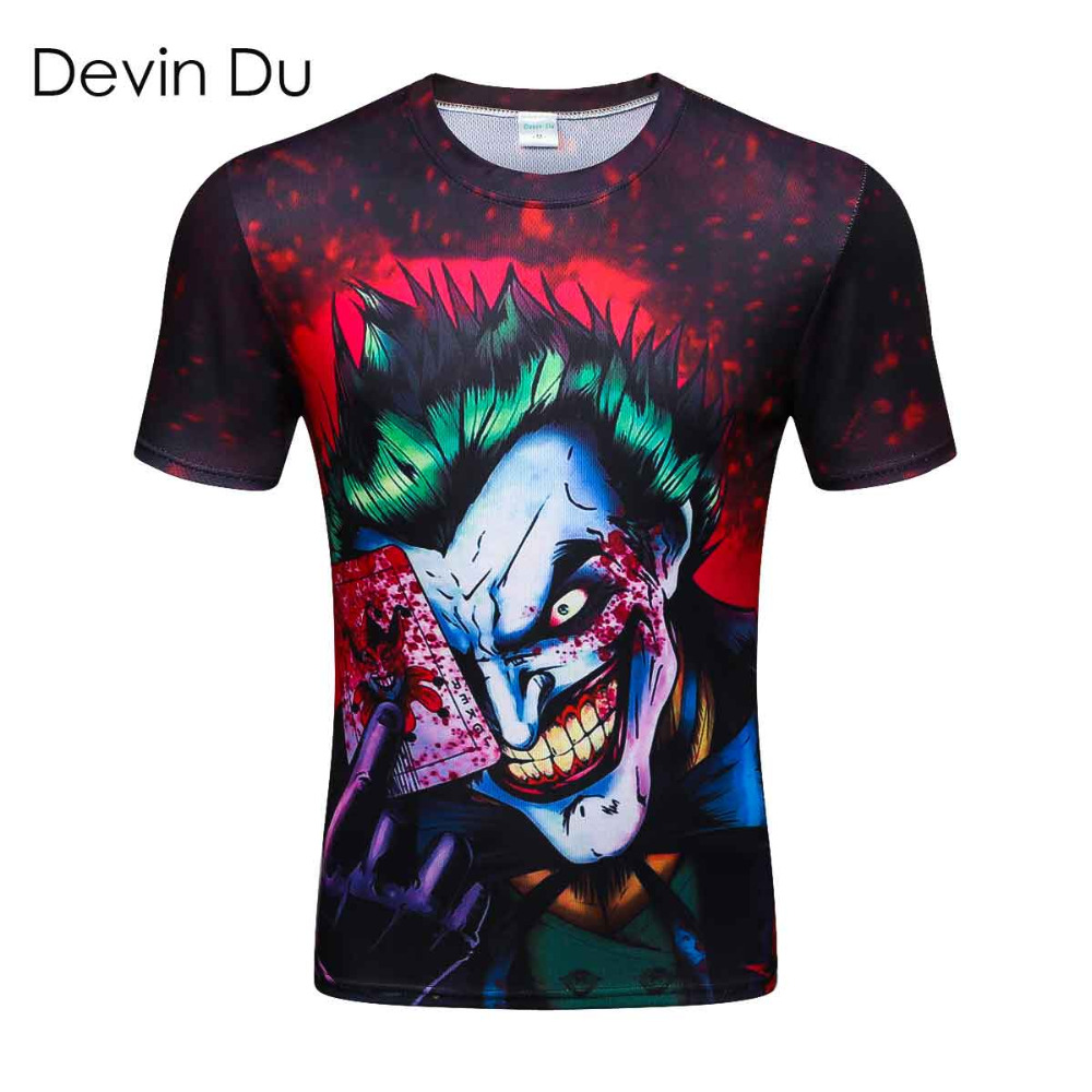 2018 new the Joker 3d t shirt funny comics character joker with poker 3d t-shirt summer style outfit tees top full printing