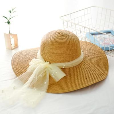 Seioum Hohe Qualität Sommer Sonnenhüte Für Frauen Feste Große Krempe Sonnenhüte Schwarz Weiß Schlapphüte Mit Perlen Damen Strand Hut Bekleidung Zubehör