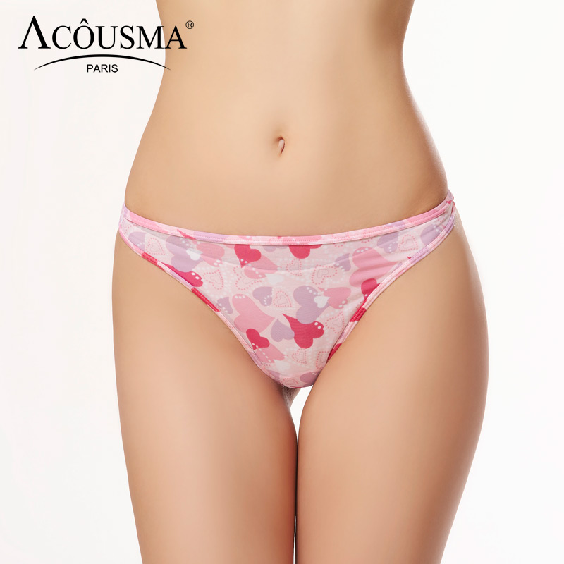 ACOUSMA Summer Women Heart Print Sexy G-String T Back Thongs Panty Seamless Female Lingerie Underwear Cotton Crotch Soft Pink