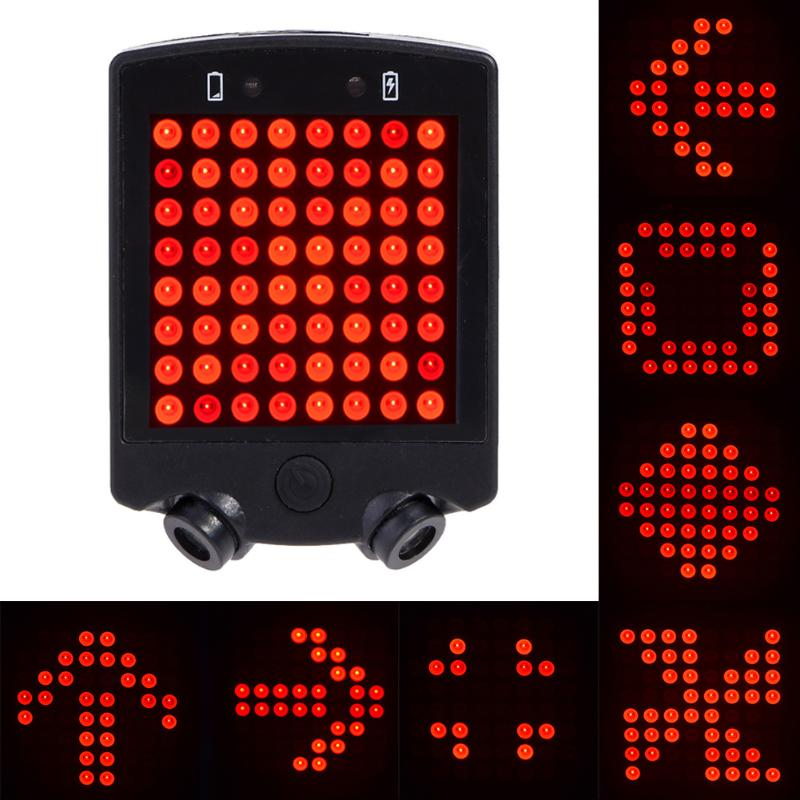 64 LED Laser Bicycle Rear Taillight Waterproof USB Rechargeable MTB Bike Automatic Turn Signals Safety Warning Light