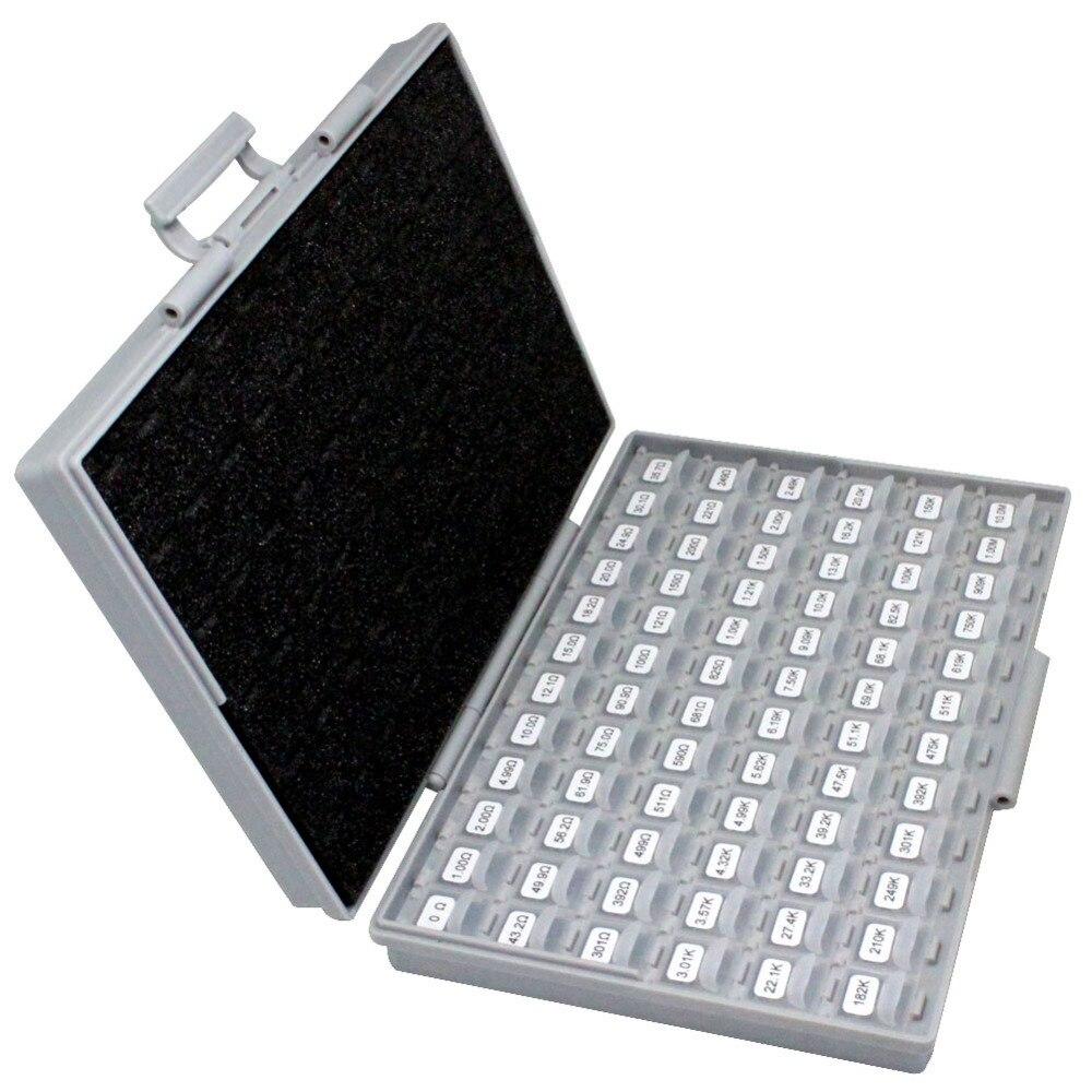 AideTek 0805 Размер 72 значения 100 шт/в 1% инженерный образец резистора Комплект Коробка-все 10 МОм E96 резистор для хранения пластиковая коробка R08E12100