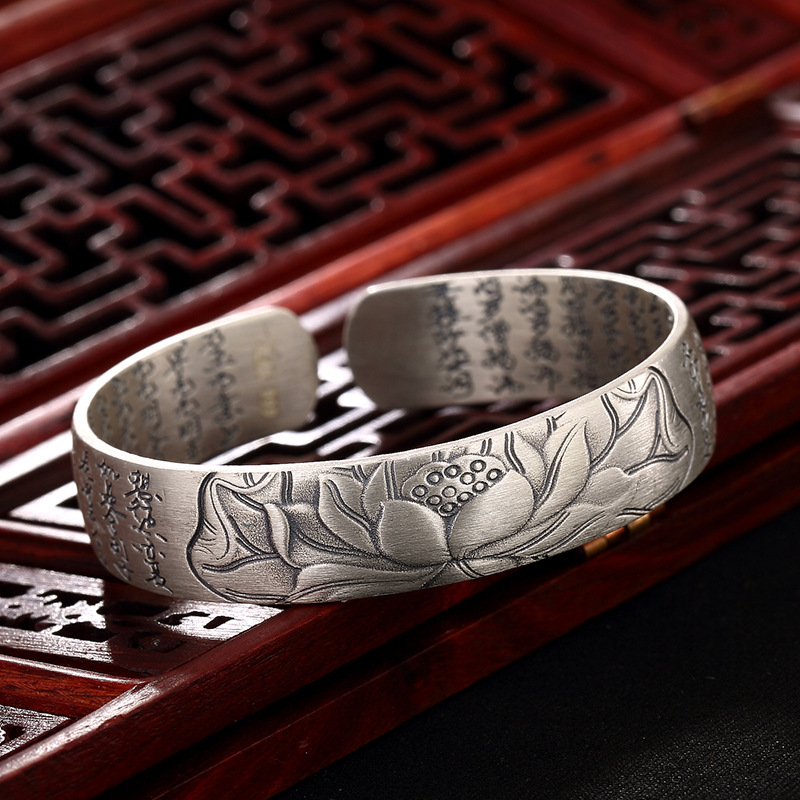 New arrival Buddhist Sutra open cuff bangle silver Hand Stamped Bracelet Bangle engraved words bracelet bangle jewelry nehzy lotus sutra 990 silver bracelet bracelet tibetan buddhist scriptures language female hand jewelry wholesale bracelet