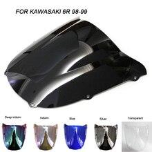 Motorcycle Motorbike Windshield Double Bubble Windscreen Wind Deflectors For Kawasaki ZX6R ZX-6R 636 1998-1999 1998 1999
