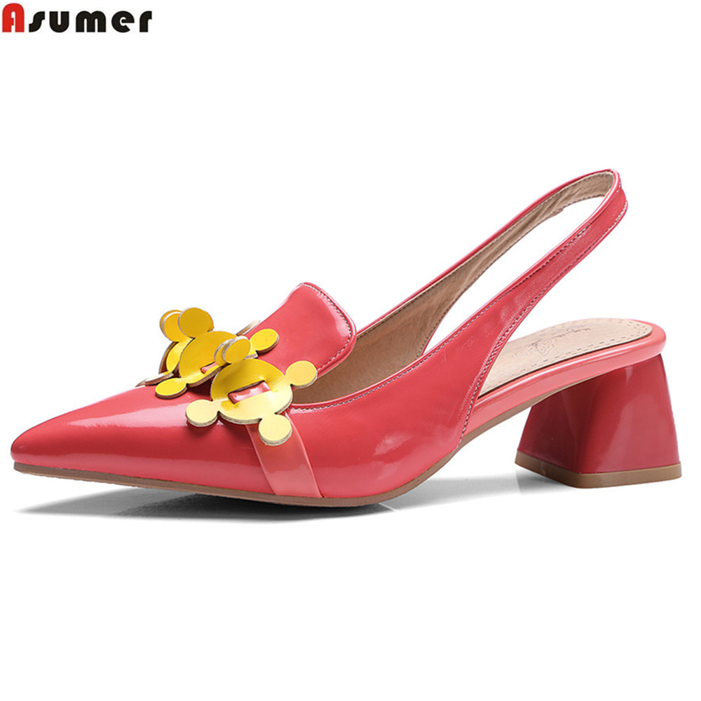 ASUMER pink blue pointed toe slingbacks single spring autumn shoes woman square heel women high heels shoes plus size 32-46 spring autumn shoes woman pointed toe metal buckle shallow 11 plus size thick heels shoes sexy career super high heel shoes