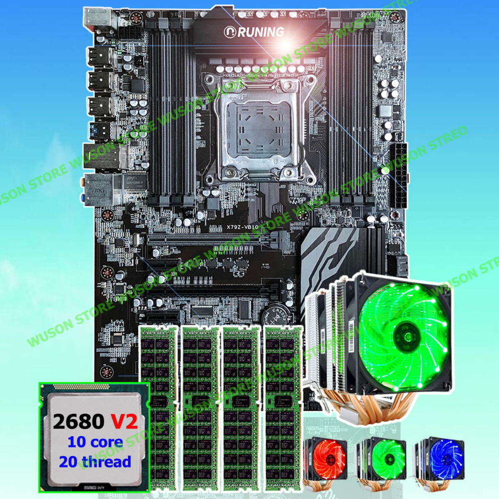 New arrival Runing Super ATX X79 motherboard processor Xeon E5 2680 V2 with GOOD cooler memory 64G(4*16G) 1600MHz DDR3 REG ECC super quality guarantee brand new runing x79 gaming motherboard cpu intel xeon e5 2640 v2 2 0ghz memory 16g 4 4g ddr3 reg ecc