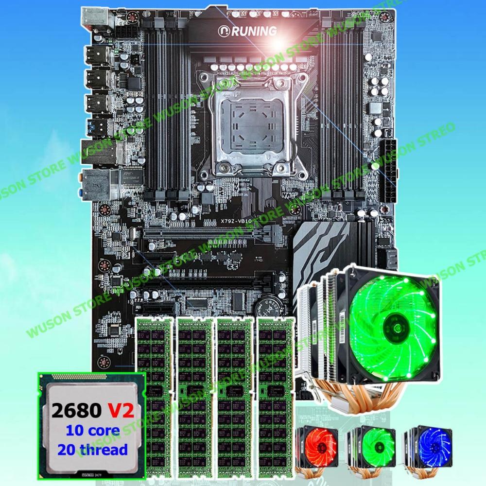 Nueva llegada Runing Super ATX X79 motherboard procesador Xeon E5 2680 V2 con buena refrigerador memoria 64G (4 * 16g) 1600 MHz DDR3 REG ECC