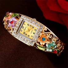 LVPAI Brand Luxury Bangle Watch Ladies Crystal Flower Bracelet Women Lovely Gift Dress Quartz Watch Gold Plated Wristwatch 2019(China)