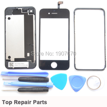 Back Glass Battery Door Cover Case+Touch Panel Digitizer for iPhone 4 4G Middle Frame Bezel Replacement +Opening Tool