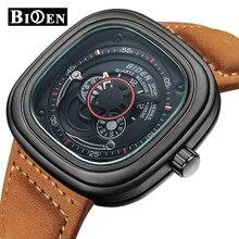 43ad8f9eda95 Marca BIDEN hombres relojes de lujo analógico de cuarzo de cuero de reloj  de pulsera hombre impermeable Deporte Militar reloj de.