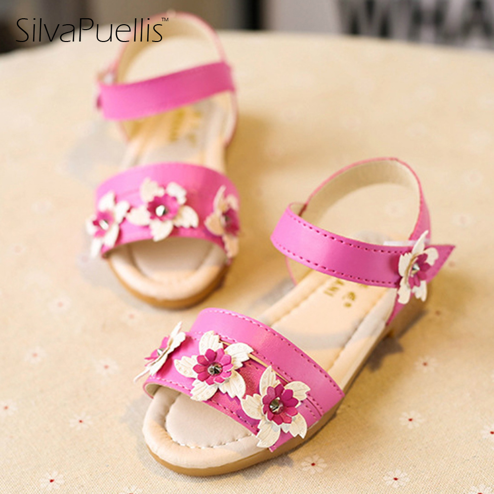 SilvaPuellis 2017 Children Summer Fashion Beach Sandals Girl Princess Flat Heels Roman Shoes Beautiful Fower shoes For Girls odeon light бра odeon light arizzi 3985 1w