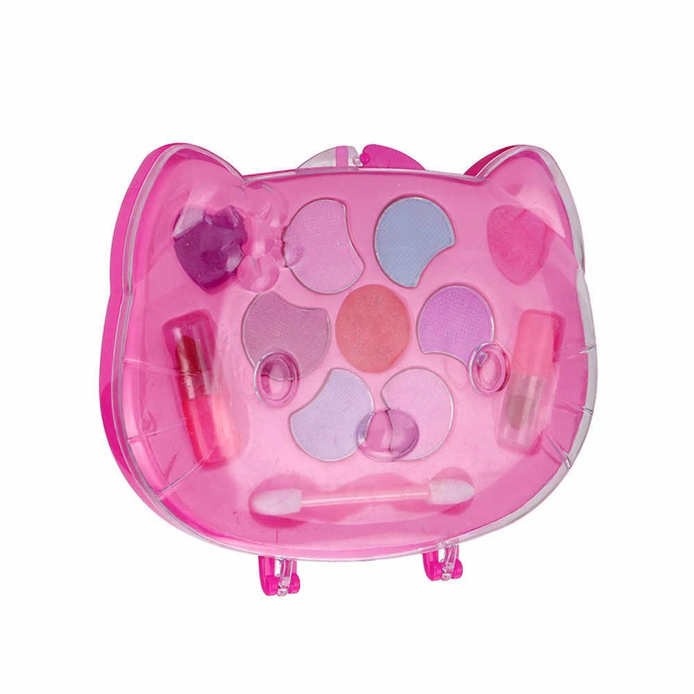 Kucing Portabel Gadis Putri Gadis Mudah Dicuci Makeup Mainan Non Beracun Deluxe Makeup Set Lipstik dan Eye Shadow untuk anak-anak Hadiah