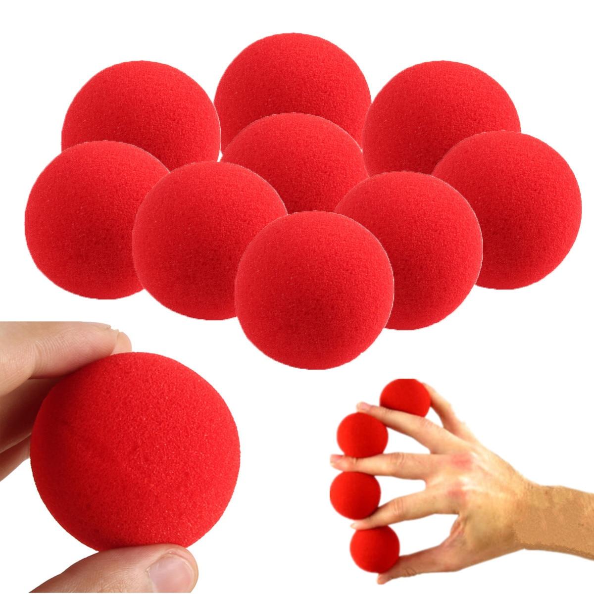 10PCs/lot High Quality 4.5cm New Fashion Close-Up Magic Sponge Ball Brand Street Classical Comedy Trick Soft Red Sponge Ball Toy(China)