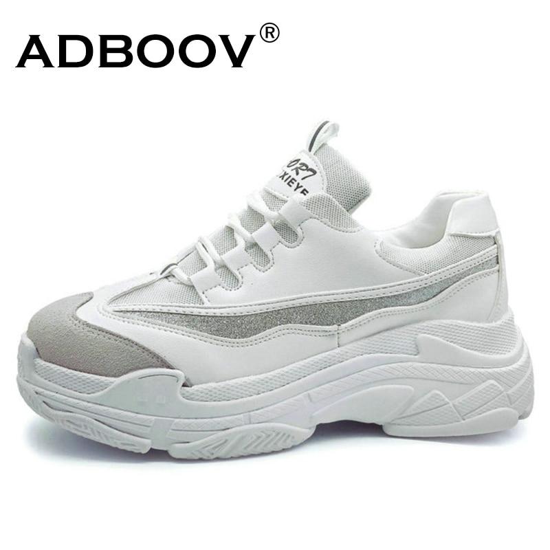 ADBOOV Plus Größe 35-43 Plattform Schuhe Frauen Mode Glitter Turnschuhe Frauen Dicke Sohle Chunky Schuhe PU Leder Oberen papa Schuhe