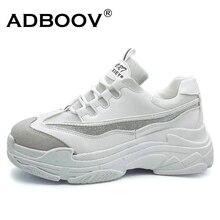 ADBOOV/Большие размеры 35-43, обувь на платформе, женские модные блестящие сникерсы, женская обувь на толстой подошве, обувь из искусственной кожи, обувь для папы
