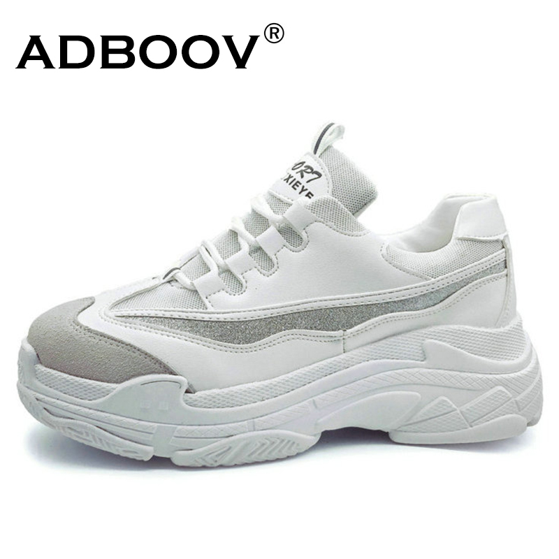 ADBOOV Plus Taille 35-43 Plate-Forme Chaussures Femmes De Mode Glitter Sneakers Femmes Semelle Épaisse Chunky Chaussures PU Tige En Cuir papa Chaussures
