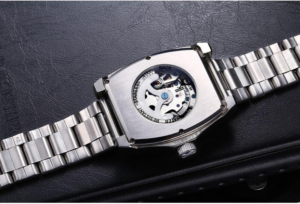de aço prata relógios mecânicos automáticos moda