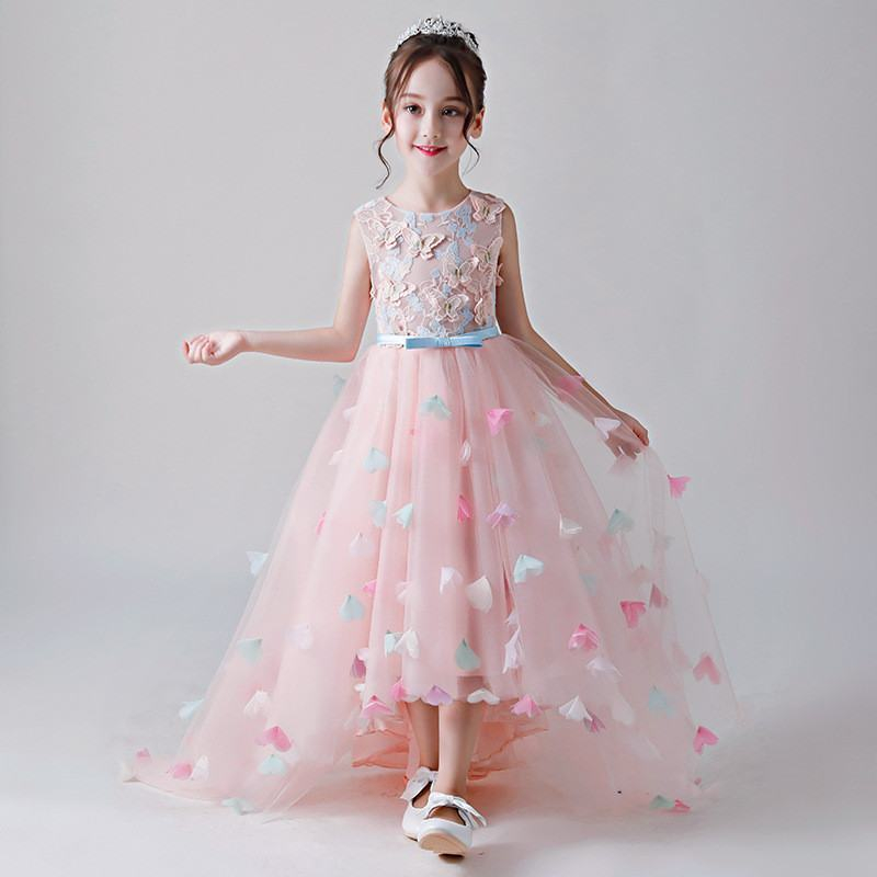 2019 Children Appliques Butterfly Prom Gown Teen Girl Lace Mesh Princess Party Dress Kids Girl Bow Formal Trailing Dress Q4852019 Children Appliques Butterfly Prom Gown Teen Girl Lace Mesh Princess Party Dress Kids Girl Bow Formal Trailing Dress Q485
