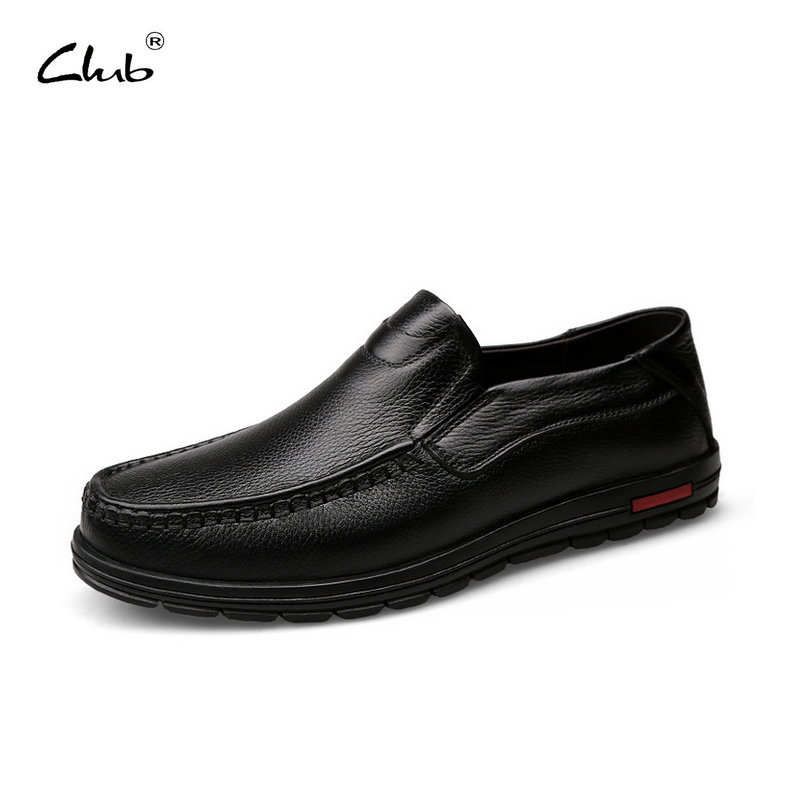 Club Men's Genuine Leather Loafers Shoes High Quality Breathable Slip-on Handmade Oxfords Shoes Men Casual Moccasins Footwear high end breathable men casual shoes loafers genuine leather lace up rubber handmade slip on sewing lazy shoes italian designer