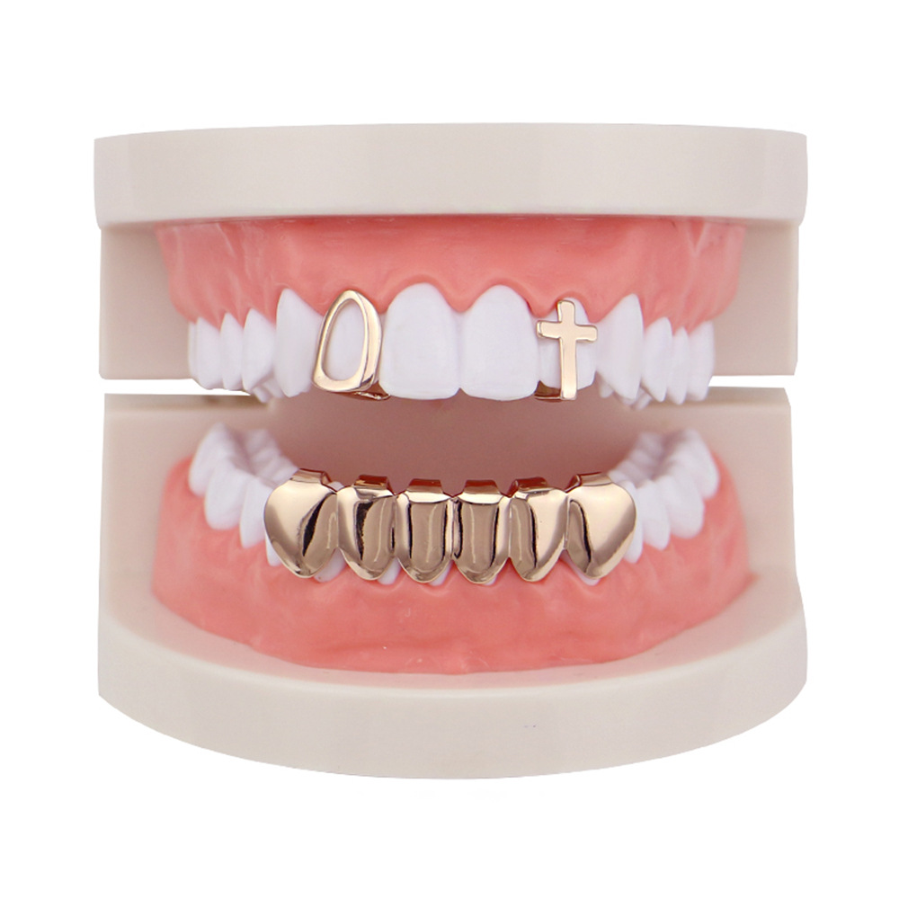 Factory Bottom Price Real Gold Plated Teeth Grillz Set Mixed Design Fake Tooth Grillz Hip-hop Cool Men Body Jewelry US Rap Artist Mouth Cap (2)