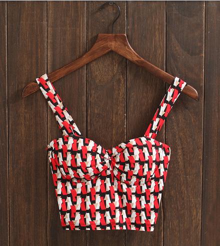 P237 Mulheres nova moda de verão Retro geométrica cor bra envolto peito Harajuku topos de culturas bustier do espartilho