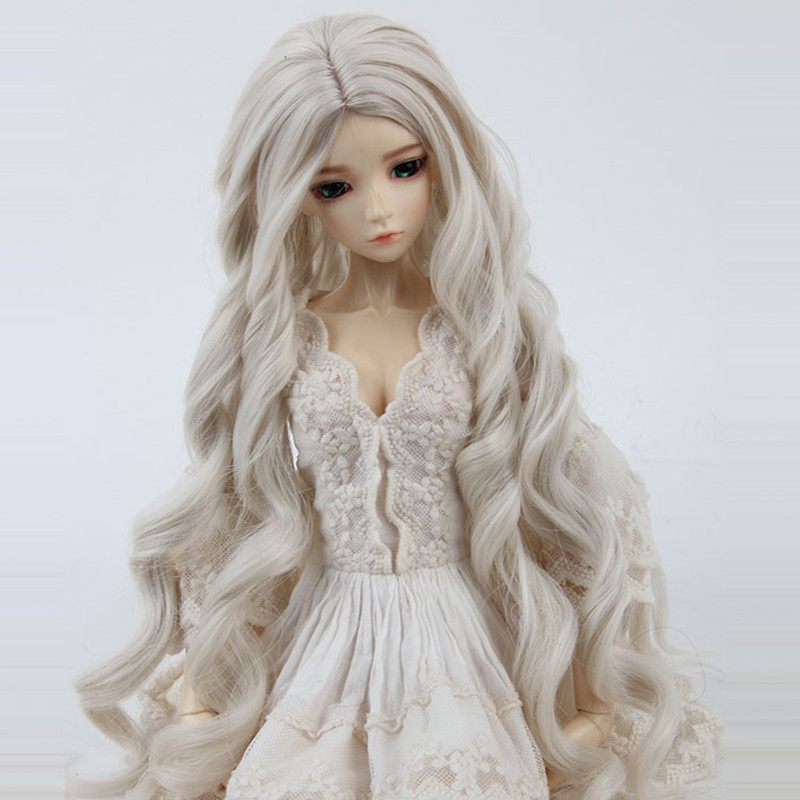 Sd Bjd Doll Wig Long Curly Light Golden Carved Queen 3 1/3 Stars Big Waves Roll High Temperature Wire