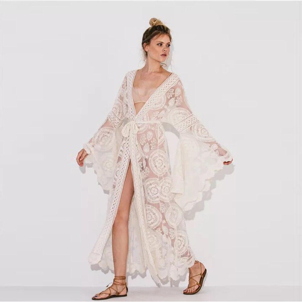 Haute Qualité Blanc Bohème Manches Evasées Dentelle Maxi Robe Femmes Wrap Été Gitane Robe Tunique Kimono de Plage Robes 2018