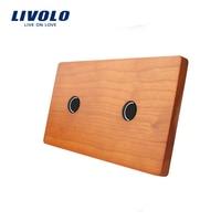 Livolo Luxury Cherry Wood Panel 151mm 80mm EU Standard Double Cherry Wood Panel VL C7 C1
