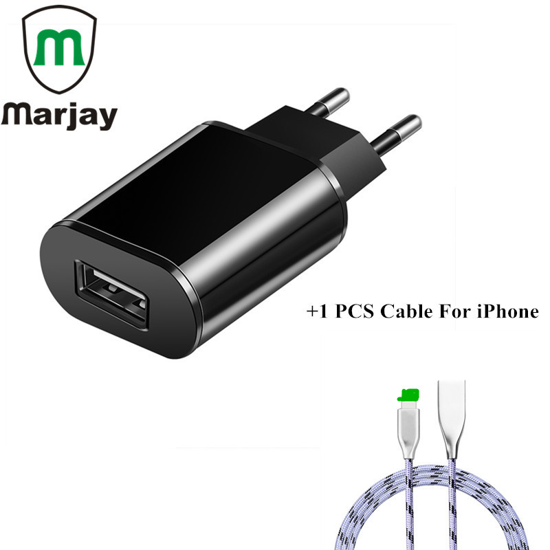 USB Charger 5V 2A EU Fast Charging Travel Adapter With 1M Data USB Cable For iPhone X 8 7 6 6S Plus 5S SE Mobile Phone Charger