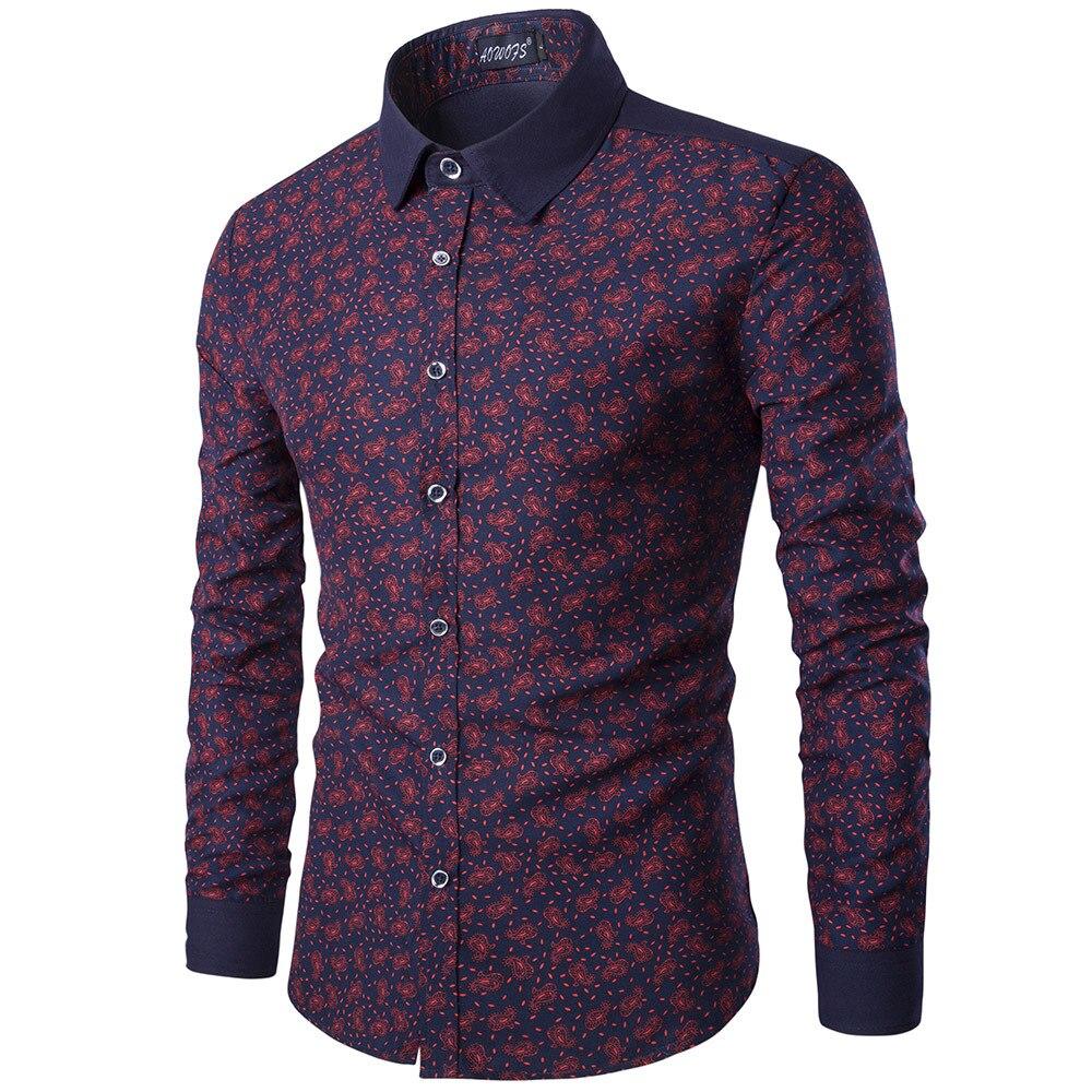 Shirt design for man 2017 - Brand Men Shirt Long Sleeve Floral Men Dress Shirt Camisa Masculina Brand Casual Shirt Men Clothes