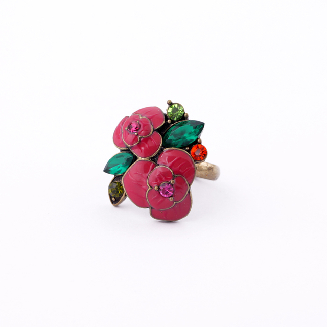 Wholesale Fashion Enamel Flower Ring Designer Jewelry for Women