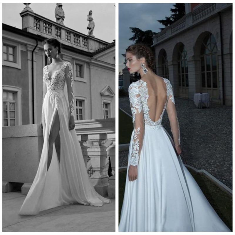Sheer Lace Applique Long Sleeve Wedding Dress V Neck: 2019 Sexy Backless Wedding Dresses Lace Applique Split