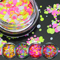 1g NEW Mixed Round Nail Art Glitter Decoration Colorful Luminous Mini Mixed Thin Paillette Design Nail Tip Bottle DIY P25-35
