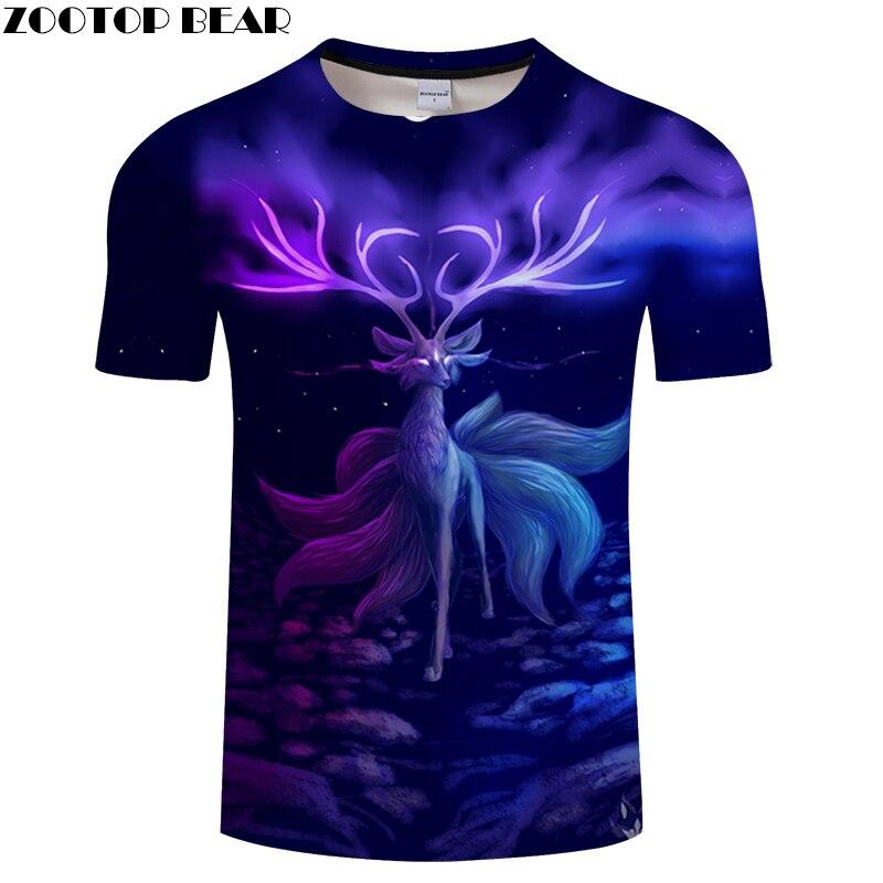 Elk 3D tshirt Women Men t shirt Animal t-shirt Summer Tee Fashion Top Streetwear ShortSleeve Harajuku Dreamy DropShip ZOOTOPBEAR