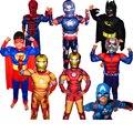 Рождественские Мальчики Мышцы Super Hero Капитан Америка Костюм Человек-Паук Бэтмен Халк Мстители Костюмы Косплей для Детей Дети Мальчик