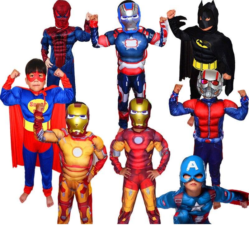 Weihnachten Jungen Muscle Super Hero Captain America Kostüm SpiderMan Batman Hulk Avengers Kostüme Cosplay für Kinder Kinder Jungen