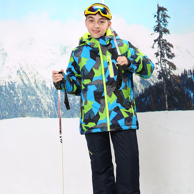 24af1b31de80 Russian Winter Boys Clothing Set Windproof Waterproof Outdoor Boys ...