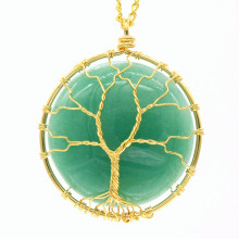 100-Unique  1 Pcs Light Yellow Gold Color Wire Wrap Round Original GreeN Aventurine Pendant