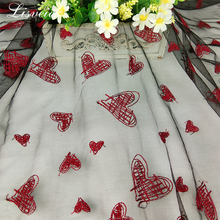 new 1yard retro style polyester mesh love pattern embroidery fashion skirt lace fabric Transparent tulle for wedding dress