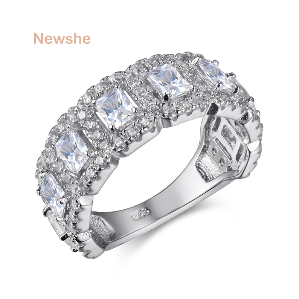 Newshe Solid 925 Sterling Silver Wedding Ring Engagement