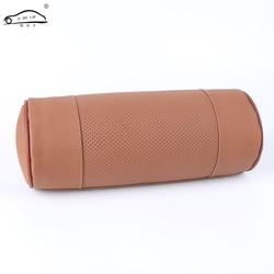 Espuma de memória pescoço do carro travesseiro/couro genuíno auto cervical redondo rolo escritório cadeira apoio de cabeça suporta almofada preto