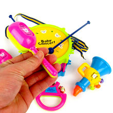 Mini Musical Instruments Drum, Handbell, Trumpet, Cabasa – Educational Music Toy
