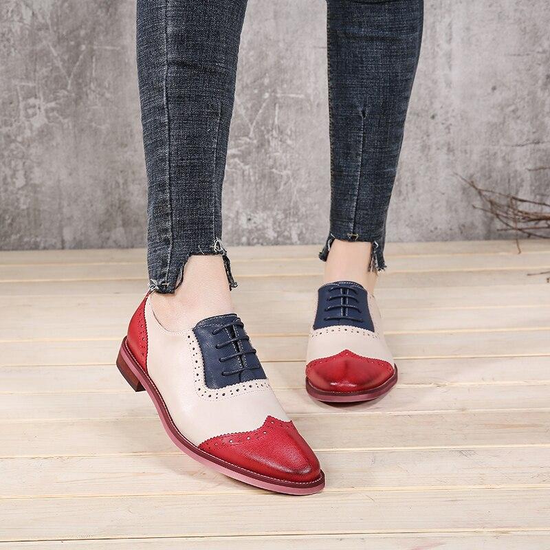 Marque de luxe Oxford Chaussures Femme 2018 Dame Brogues En Cuir Naturel  Dentelle Up Nouvelle Arrivée Femelle Occasionnel Bloc Talon Chaussures 7456649bde5f