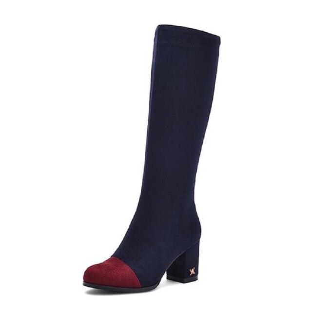 Alta qualidade de Camurça Cores Misturadas Mulheres Sapatos Botas Zip Lado  Novo Cavaleiro Outono-Alta c1c790aa59