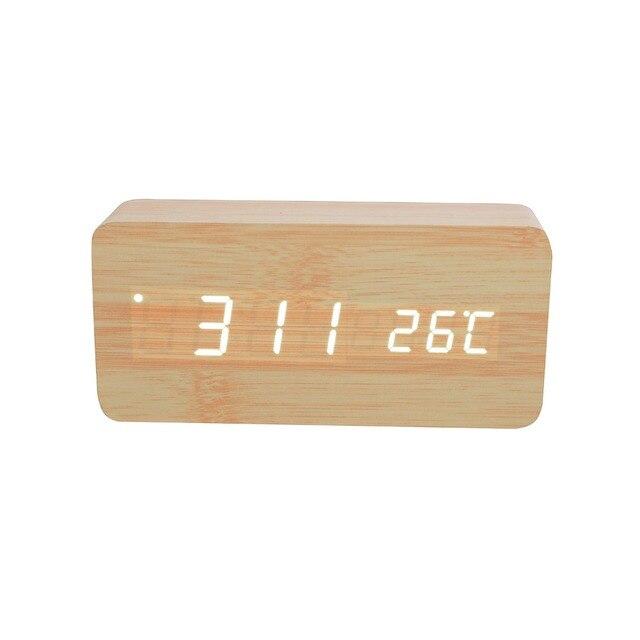 26cbb811e06 Relógio de Madeira alarme LED Light muktin LED Bamboo   Wooden Despertador  com Temperatura e Tempo