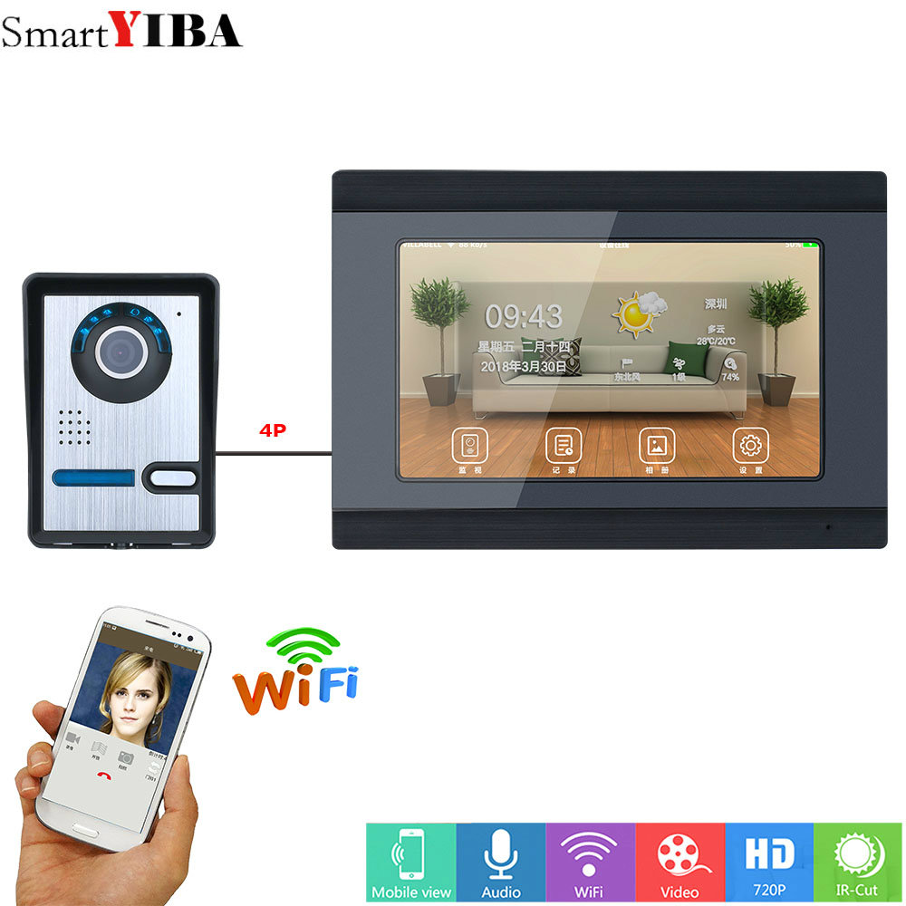 SmartYIBA 7inch Wired Wifi Video Door Phone Doorbell Intercom Entry System Support Remote APP intercom unlocking,Recording,