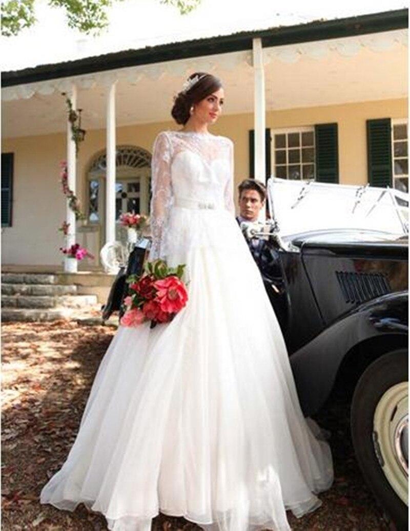Backless Vestido De Noiva Muslim Wedding Dresses Ball Gown Long Sleeves Tulle Lace Boho Dubai Arabic Wedding Gown Bridal