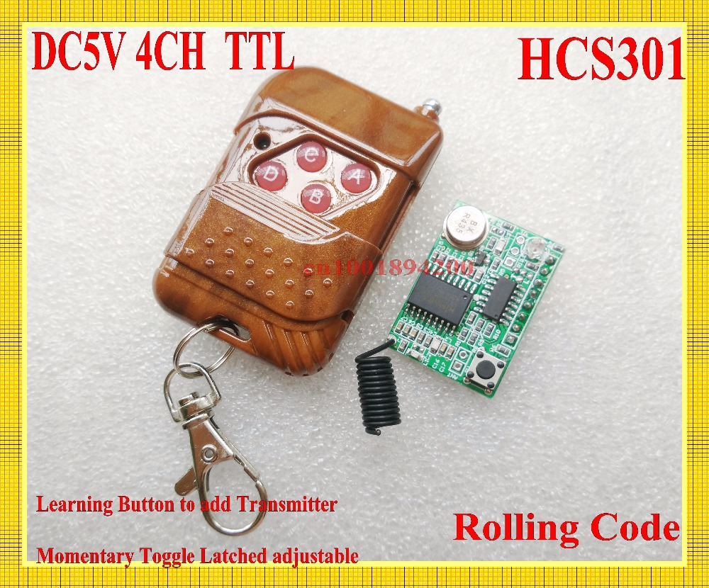 HCS301 Rolling Code Receiver Module DC5V 4CH TTL Decoding Receiver + Transmitter Wireless Remote Control 315/433 Learning M T L long range remote control switch dc 12v 1 ch 10a relay 4 receiver 1 transmitter learning code 315 433 4204