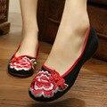 Пион embroideried обувь женская цветок повседневная обувь черный и красный