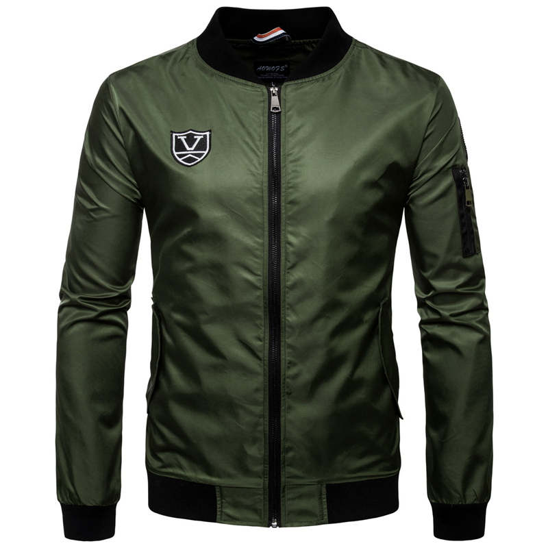 2017 New Spring Black Army green Letter printing embroidery Bomber Jacket Men Streetwear Brand clothing