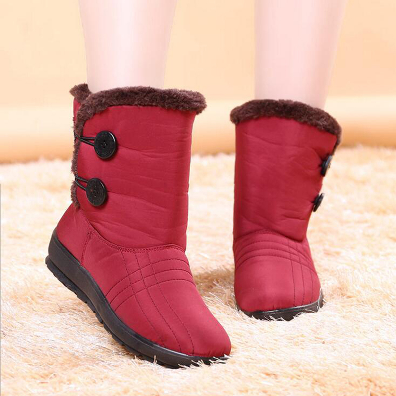 Women Snow Boots Mid-calf Thickend Warm Waterproof Student's Short Snow Boots Non-slip Pregnant Cotton Shoes Mother Shoes Hot nuckily men mid calf socks warm cotton made